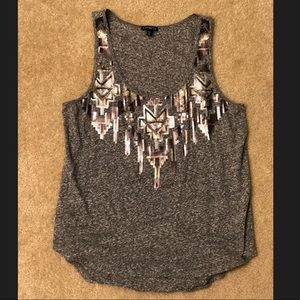 EXPRESS Sequin Tribal Tank